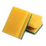 Губка для мытья посуды Лайма поролоновые с абразивным слоем, 4.2х9.6х6.4см, желтые, 2шт/уп
