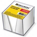 Блок для записей непроклеенный в подставке Brauberg белый в прозрачном боксе, 90х90мм