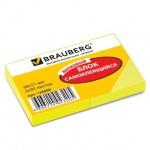 Блок для записей с клейким краем Brauberg желтый, неон, 38x51мм, 2х90 листов