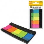 Клейкие закладки пластиковые Brauberg 5 цветов, 48x20мм, 5х20 листов, в диспенсере