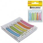 Клейкие закладки пластиковые Brauberg 5 цветов, 10х48мм, 100шт, в диспенсере