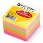 Блок для записей с клейким краем Brauberg 5 цветов, неон, 51x51мм, 400 листов