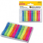 Клейкие закладки пластиковые Brauberg 5 цветов, 6х48мм, 10х20 листов, в диспенсере