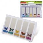 Клейкие закладки пластиковые Brauberg рисунок бабочки, 48x15мм, 5х20 листов, в книжке