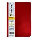 Тетрадь Brauberg Income красная, A5, 128 листов, в клетку, на сшивке, искусственная кожа
