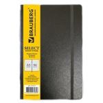 Тетрадь общая Brauberg Select черная, A5, 96 листов, в клетку, на сшивке, искусственная кожа
