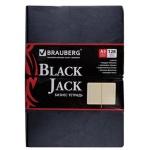 Тетрадь Brauberg Black Jack, A5, 128 листов, в клетку, на сшивке, искусственная кожа
