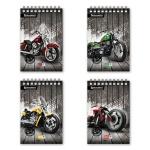 Блокнот Brauberg Wild Bikes, A5, 80 листов, в клетку, на спирали, мелованный картон, ассорти 4 вида