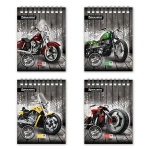 Блокнот Brauberg Wild Bikes, А6, 48 листов, в клетку, на спирали, мелованный картон, ассорти 4 вида