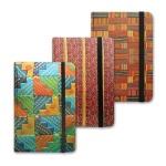 Блокнот Brauberg Arabesque, А7+, 80 листов, в клетку, на сшивке, ламинированный картон, на резинке