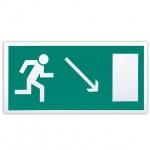 Знак Направление к эвакуационному выходу направо вниз Фолиант 300х150мм, фотолюминесцентный, самоклеящаяся пленка, Е07