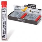 Грифели для механических карандашей Brauberg Hi-Polymer 180446 HB, 12шт, 0.5мм