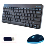 Набор клавиатура и мышь беспроводной Logitech Wireless Combo MK240, черно-голубой, USB