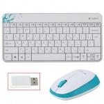 Набор клавиатура и мышь беспроводной Logitech MK240 белый-голубой