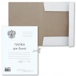 Картонная папка на завязках Brauberg Standard белая, А4, до 200 листов