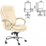 Кресло руководителя Chairman 795 нат. кожа, белая, крестовина хром