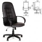 Кресло руководителя Chairman 727, крестовина пластик, черный кожзам