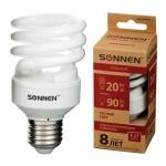 Лампа энергосберегающая Sonnen ECO Т2 20(90)Вт, E27, теплый свет, 8000ч