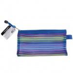 Пластиковая папка на молнии Brauberg Stripes разноцветная-полупрозрачная, 130х255мм, 130х255мм