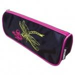 Пенал для девочек Brauberg 21х4х8см, Dragonfly, черно-розовый
