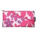 Пенал для девочек Brauberg 22х11см, Flowers, розовый
