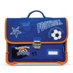 Ранец для мальчиков Brauberg 38х30х12см, Football, сине-оранжевый, пластиковые ножки