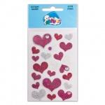 Наклейки декоративные детские Липуня Блестящие розовые сердца