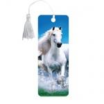 Закладка для книг Brauberg Белый конь, объемная с движением, шнурок-завязка