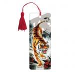 Закладка для книг Brauberg Бенгальский тигр, объемная с движением, шнурок-завязка