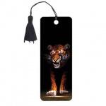 Закладка для книг Brauberg Тигр, объемная с движением, шнурок-завязка