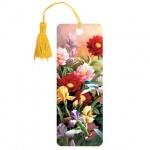 Закладка для книг Brauberg Цветы, объемная с движением, шнурок-завязка