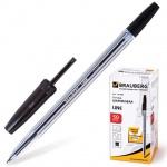 Ручка шариковая Brauberg Line 141098 черная, 1мм, прозрачный корпус
