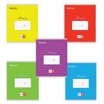 Тетрадь школьная Brauberg Классика ассорти, А5, 12 листов, на скрепке, мелованный картон, косая линейка