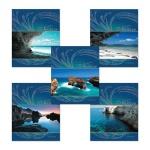 Тетрадь общая Полиграфика Blue Lagoon, А5, 48 листов, в клетку, на скрепке, мелованный картон/ лак