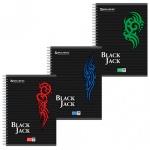 Тетрадь общая Brauberg Pro Black Jack, A5, в клетку, мелованный картон/ лак, 96 листов