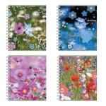 Тетрадь общая Полиграфика Полевые цветы, А5, 60 листов, в клетку, на спирали, мелованный картон
