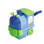 Точилка механическая Пифагор Паровозик 1 отверстие, с контейнером, зелено-голубая