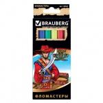 Фломастеры Brauberg Pirates, смываемые, картон с золотистым тиснением, 6 цветов