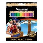 Фломастеры Brauberg Pirates, смываемые, картон с золотистым тиснением, 12 цветов