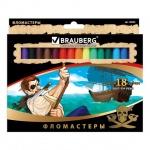 Фломастеры Brauberg Pirates, смываемые, картон с золотистым тиснением, 18 цветов