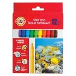 Фломастеры Koh-I-Noor Рыбки, трехгранные, смываемые, 12 цветов