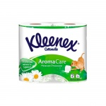 Туалетная бумага Kleenex Aroma Care ромашка, белая с рисунком, 3 слоя, 4 рулона, 155 листов, 17.3м