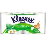 Туалетная бумага Kleenex Aroma Care ромашка, белая с рисунком, 3 слоя, 8 рулонов, 155 листов, 17.3м