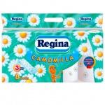 Туалетная бумага Regina ромашка, белая с рисунком, 3 слоя, 8 рулонов, 147 листов, 18м