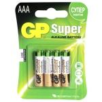 Батарейка Gp Super Alkaline AAA/LR03, 1.5В, алкалиновая, 4шт/уп