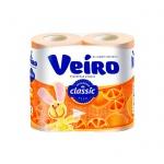 Туалетная бумага Veiro Classic цитрус, желтая, 2 слоя, 4 рулона, 140 листов, 17.5м