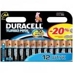 Батарейка Duracell Turbo Max AA/LR6, 1.5В, алкалиновые, 12шт/уп