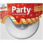 Тарелка одноразовая Paclan Party белая, d=18.5см, 6шт/уп