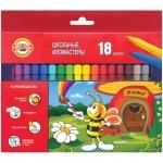 Фломастеры Koh-I-Noor Пчелка 18 цветов, трехгранные, смываемые