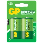 Батарейка Gp Greencell D/R20, 1.5В, солевые, 2шт/уп